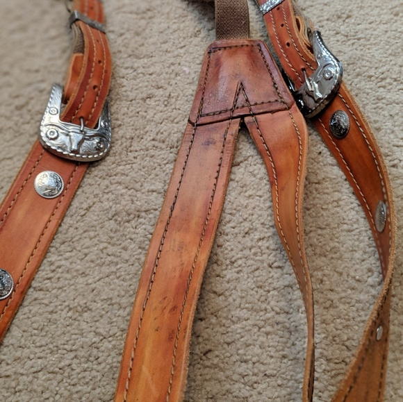Leather western Suspenders